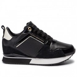 TOMMY HILFIGER DEPORTIVA CUÑA MUJER LEATHER WEDGE SNEAKER FW0FW04420 990 BLACK  TOM063