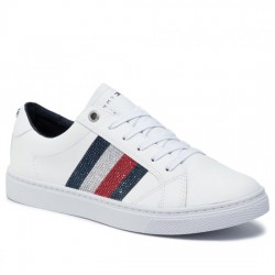 TOMMY HILFIGER DEPORTIVAS MUJER CRYSTAL LEATHER CASUAL SNEAKER FW0FW04299 100 WHITE TOM073