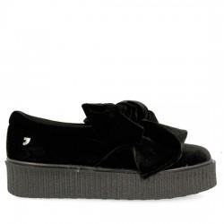 GIOSEPPO Sneakers de terciopleo negro con lazo frontal y suela gruesa 41048