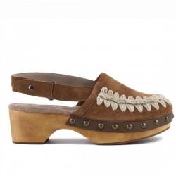MOU wood clog back strap suede