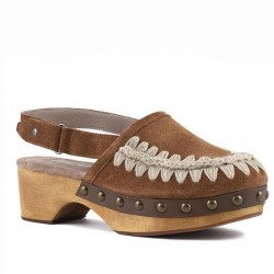 MOU wood clog back strap suede