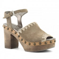 MOU HIGH-HEEL WOOD SANDAL WITH ANKLE STRAP SUEDE DKST MOU031