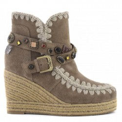 MOU eskimo jute wedge belts and studs SUEDE DKST TAUPE MOU033