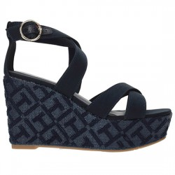 TOMMY HILFIGER TH PATTERN WEDGE SANDAL FW0FW02800 403 MIDNIGHT TOM007