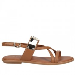 TOMMY HILFIGER FLAT SANDAL WITH TH BAR FW0FW02237 929 SUMMER COGNAC TOM013