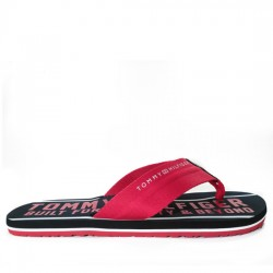 TOMMY HILFIGER CHANCLAS TIRA ROJA FW0FW01371 BLACK/RED TOM019