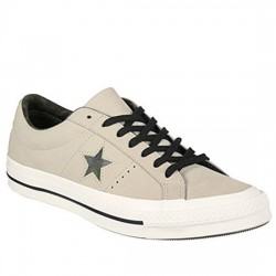 CONVERSE ONE STAR OX 159782C EGRET/BLACK/HERBAL CON036