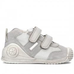 BIOMECANICS Zapatillas para bebé de niño en piel Leo 162149 PERLA/GRIS BIOM001