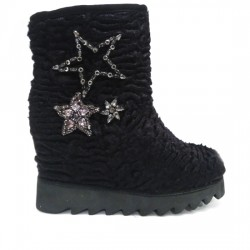 COLORS OF CALIFORNIA BOTA CUÑA PELUCHE Y ESTRELLAS DE CRISTALES  HC-YWED011-F18 BLACK COL010