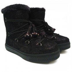 COLORS OF CALIFORNIA BOTA PLANA MUJER CORDONES Y BORLAS  HC-YSN07-F18 BLACK COL011