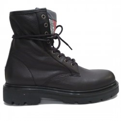 TOMMY HILFIGER BOTAS CORDONES MUJER BIG FLAG SPARKLE LAC EN0EN00243 990 BLACK TOM038