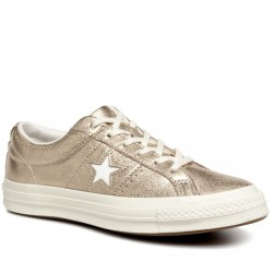 CONVERSE ONE STAR METALLIC LEATHER - OX 161589C GOLD/EGRET/EGRET CON051