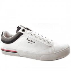 PEPE JEANS SNEAKER LONA HOMBRE 'NORTH COURT' STYLE PMS30530 800 WHITE PPJ010