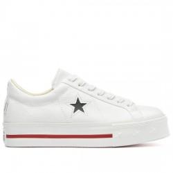 CONVERSE ONE STAR PLATFORM - OX 564030C WHITE/DARK OBSIDIAN/GYM RED CON061