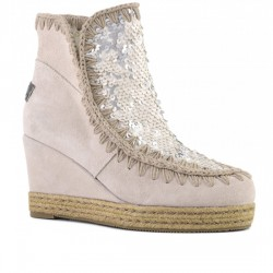 MOU BOTINES CUÑA ESKIMO JUTE WEDGE SHORT SEQUINS FRONT/SUEDE SEQUINS CHALK MOU046