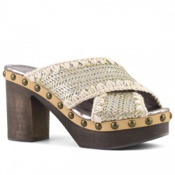 MOU SANDALIAS HIGH-HEEL WOOD CRISS-CROSS PLAIN WOVEN SYNTHETIC SILWO MOU044