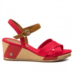 TOMMY HILFIGER SANDALIA PRINTED MID WEDGE SANDAL FW0FW03933 TANGO RED TOM052
