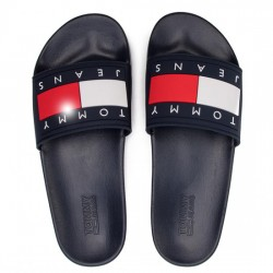 TOMMY HILFIGER JEANS PALA MUJER FLAG POOL SLIDE EN0EN00474 BLACK IRIS TOM054
